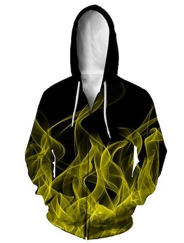 Муж. Толстовка с капюшоном на молнии Животное 3D Капюшон Повседневные 3D печать На каждый день Толстовки Толстовки Длинный рукав Свободный силуэт Желтый