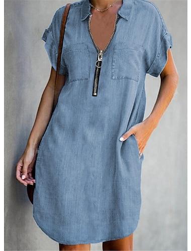 Γυναικεία Φόρεμα τζιν πουκάμισο Φόρεμα μέχρι το γόνατο Θαλασσί Κοντομάνικο Συμπαγές Χρώμα Φερμουάρ Τσέπη Φθινόπωρο Άνοιξη Κολάρο Πουκαμίσου Καθημερινό Αργίες 2021 Τ M L XL XXL 3XL / Βαμβάκι / Βαμβάκι