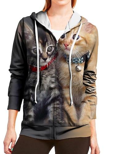 여성용 후드 집업 후디 스웻 셔츠 고양이 3D 동물 지퍼 프린트 일상 스포츠 3D 인쇄 활동적 스트리트 쉬크 후드 스웨트 셔츠 화이트 브라운