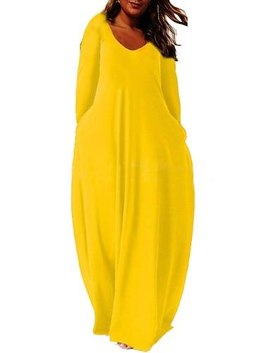 Női Molett Ruha Váltó ruha Maxi hosszú ruha Hosszú ujj Tömör szín Zseb Csónaknyak Alkalmi Ősz Nyár Világossárga Bor Medence L XL XXL 3 XL 4 XL / Extra méret / Extra méret