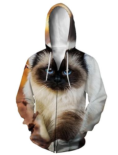 Miesten Vetoketjullinen huppari Eläin 3D Hupullinen Kausaliteetti Päivittäin 3D-tulostus Vapaa-aika Hupparit paidat Pitkähihainen Löysä 2
