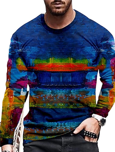 Pánské Unisex Trička Tričko Košile 3D tisk Grafické tisky Graffiti Tisk Dlouhý rukáv Denní Topy Na běžné nošení Designové Velký a vysoký Vodní modrá