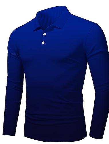 Hombre Camiseta de golf Impresion 3D Degradado Impresion 3D Abotonar Manga Larga Calle Tops Ligeras Casual Moda Comodo Azul Marino