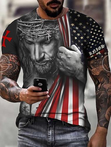 Men\'s Unisex Tee T shirt Shirt 3D Print Graphic Prints Skull American Flag Print Short Sleeve Daily Regular Fit Tops Casual Designer Big and Tall Blue Black Red / Summer