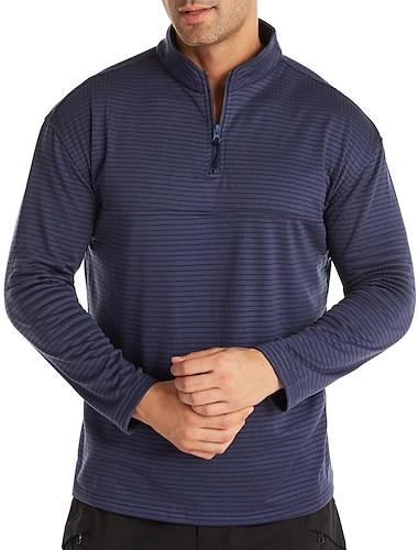 Per uomo Tunica maglietta A strisce Cerniera Collage Manica lunga Casuale Top Semplice Leggero Casuale Classico Grigio Cachi Nero