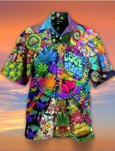 Pánské Košile 3D tisk Houba Písmeno 4ks 3D Tisk Krátký rukáv Dovolená Topy Plážový styl Vodní modrá