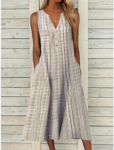 Women\'s A Line Dress Midi Dress Blue Grey Violet Long Sleeve Stripes Modern Style Fall Winter V Neck Casual 2021 S M L XL XXL XXXL