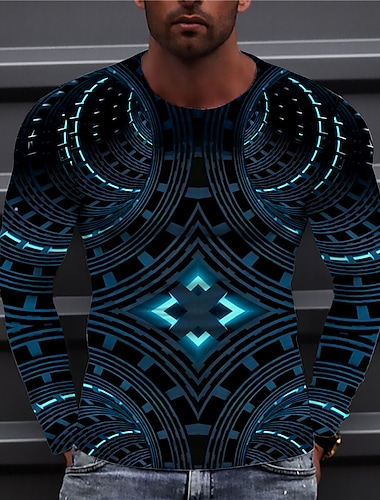Męskie Dla obu płci Koszulki Podkoszulek Koszula Druk 3D Wzory graficzne Geometria Nadruk Długi rękaw Codzienny Regularny Najfatalniejszy Codzienny Designerskie Duży i wysoki Niebieski Żółty Zielony