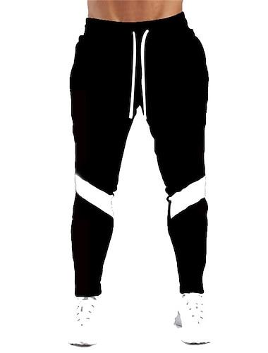 Муж. Стиль Повседневный / спортивный Комфорт Дышащий Брюки Хлопок Повседневные Спорт Брюки Контрастных цветов Полная длина Кулиска Пэчворк Серый Светло-серый Черный Красный
