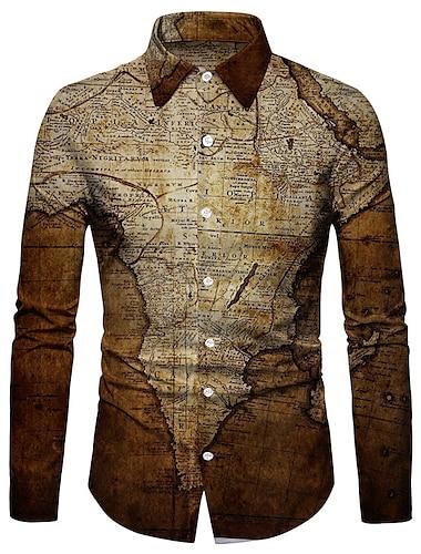 Муж. Рубашка 3D печать Карта 3D печать Кнопка вниз Длинный рукав Для улицы Верхушки На каждый день Мода Дышащий Удобный Коричневый