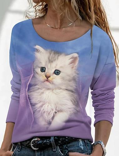Dámské 3D kočka Obraz Tričko Kočka 3D Zvíře Dlouhý rukáv Tisk Kulatý Základní Topy Fialová
