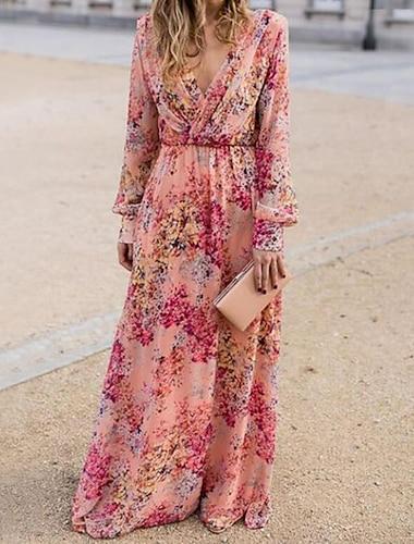 Women\'s Swing Dress Maxi long Dress Blushing Pink Long Sleeve Floral Print Fall Spring Deep V Elegant Boho Holiday Beach 2021 S M L XL XXL XXXL / Chiffon