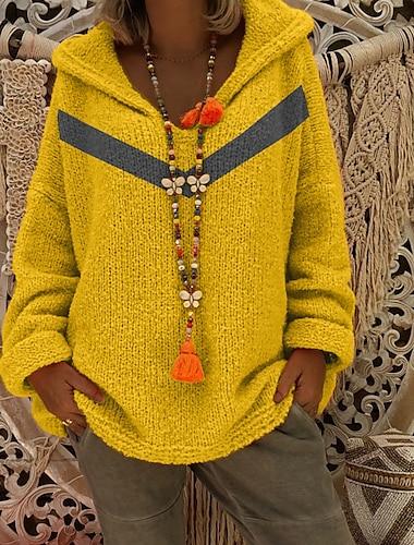 Γυναικεία Πουλόβερ Πλεκτό Συνδυασμός Χρωμάτων Στυλάτο Καθημερινό Μακρυμάνικο Πουλόβερ ζακέτες Με Κουκούλα Φθινόπωρο Χειμώνας Κίτρινο Γκρίζο Ρουμπίνι