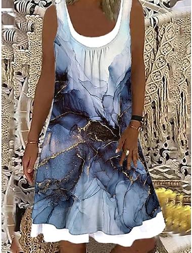 Mujer Vestido de cambio Vestido hasta la Rodilla Azul Piscina Sin Mangas Estampado falso de dos piezas Estampado Primavera Verano Escote Barco Elegante Casual Festivos Corte Ancho 2021 S M L XL XXL