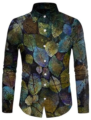 Муж. Рубашка 3D печать Листья 3D печать Кнопка вниз Длинный рукав Для улицы Верхушки На каждый день Мода Дышащий Удобный Зеленый / Спорт / Богемный