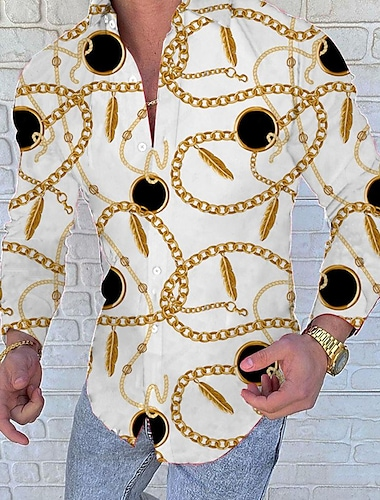 Per uomo Camicia Scozzese Collage Con stampe Manica lunga Per uscire Taglia piccola Top Originale Punk e gotico Colletto Mao Giallo