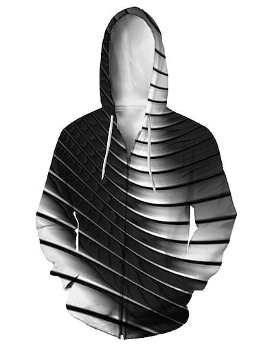 Муж. Толстовка с капюшоном на молнии Животное 3D Капюшон Повседневные 3D печать На каждый день Толстовки Толстовки Длинный рукав Свободный силуэт Черный и Белый