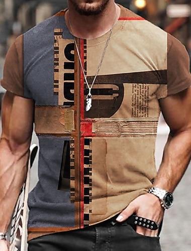 Men\'s Unisex Tee T shirt Shirt 3D Print Color Block Graphic Prints Print Short Sleeve Daily Tops Casual Designer Big and Tall Khaki