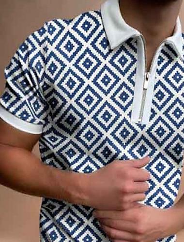 בגדי ריקוד גברים חולצת גולף גֵאוֹמֶטרִיָה רוכסן שרוולים קצרים רחוב צמרות יום יומי אופנתי נושם נוח כחול נייבי