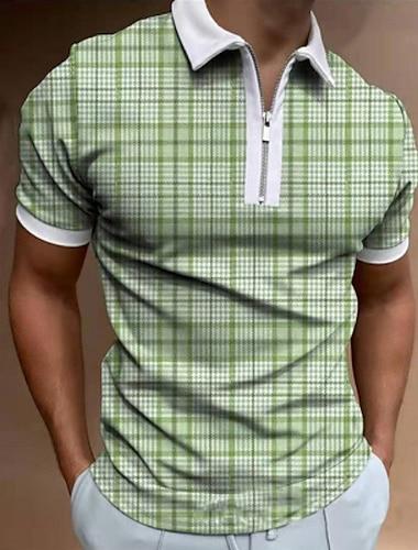 Per uomo Camicia da golf Golf A quadri Cerniera Manica corta Strada Standard Top Abbigliamento sportivo Informale Di tendenza Comodo Verde / Estate
