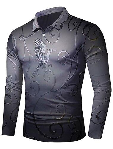 Hombre Camiseta de golf Impresion 3D Fenix Impresion 3D Abotonar Manga Larga Calle Tops Ligeras Casual Moda Comodo Gris