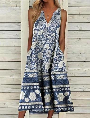 Women\'s A Line Dress Midi Dress Light gray Light Green Sleeveless Floral Pocket Print Summer V Neck Casual Regular Fit 2021 S M L XL XXL