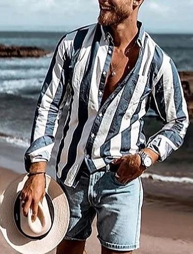 Bărbați Cămașă Dungi Buton în jos Imprimeu Manșon Lung Casă Topuri Casual Modă Comfortabil Bleumarin Albastru Deschis