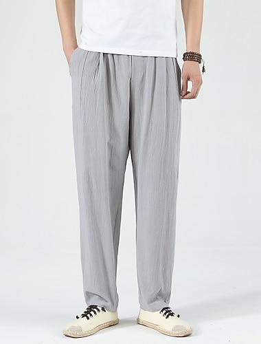 Bărbați Stil Chinezesc Epocă Respirabil Απαλό Drept Pantaloni Pantaloni Culoare solidă Lungime totală Design Elastic cu Cordon Gri Negru Bleumarin
