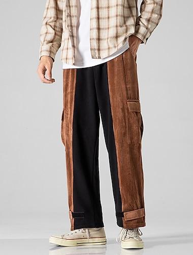 Per uomo Casuale / sportivo Streetwear Comfort All\aperto Sfacciato Pantaloni Plus Size Largo Informale Giornaliero Pantaloni Color Block Lunghezza intera Caldo Blu Marrone / A cordoncino