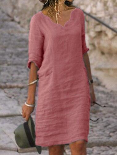 Γυναικεία Φόρεμα σε γραμμή Α Φόρεμα μέχρι το γόνατο Κίτρινο Ανθισμένο Ροζ Γκρίζο Ρουμπίνι Πράσινο Ανοικτό Σκούρο μπλε Μπλε Απαλό Μισό μανίκι Συμπαγές Χρώμα Σουρωτά Καλοκαίρι Στρογγυλή Λαιμόκοψη