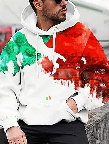 Hombre Unisexo Sudadera Con Capucha Bloque de color Estampados Estampado Con Capucha Diario Deportes Impresion 3D Estampado 3D Casual Sudaderas con capucha Sudaderas Manga Larga Azul Piscina Verde