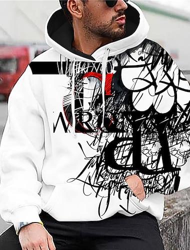 Pánské Unisex Svetrová mikina s kapucí Grafické tisky Písmeno Tisk Kapuce Denní Sport 3D tisk 3D Tisk Na běžné nošení Mikiny s kapucí Mikiny Dlouhý rukáv Bílá