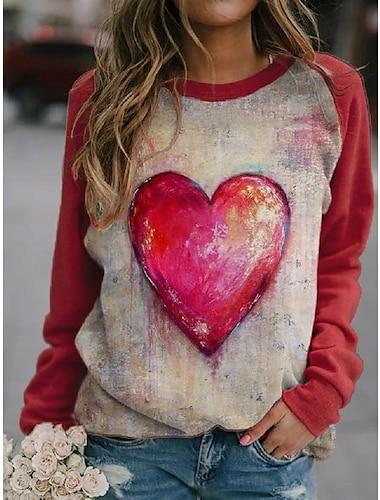 여성용 맨투맨 스웻티셔츠 풀오버 심장 3D 그래픽 프린트 3D 프린트 캐쥬얼 일상 3D 인쇄 캐쥬얼 스트리트 쉬크 후드 스웨트 셔츠 루비