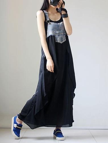 여성용 스윙 드레스 맥시 드레스 블랙 민소매 컬러 블럭 패치 워크 가을 여름 스퀘어 넥 캐쥬얼 2021 M L XL XXL 3XL