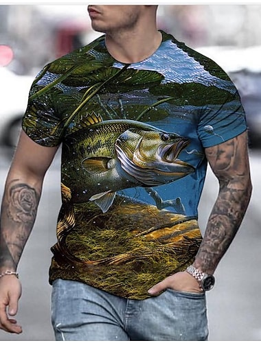 Herre T-shirt Geometrisk 3D Plusstørrelser Trykt mønster Kortærmet Daglig Toppe Basale Gade Rund hals Blå