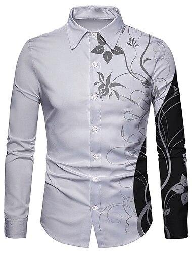 Муж. Рубашка 3D печать Цветочный принт 3D печать Кнопка вниз Длинный рукав Для улицы Верхушки На каждый день Мода Дышащий Удобный Белый / Спорт
