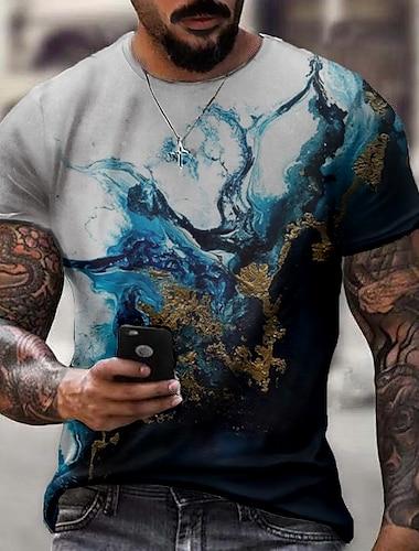 Herren Tee T-Shirt Hemd 3D-Druck Grafik Geometrisch Riss UEbergroessen Kurzarm Normal Oberteile Grundlegend Designer Schmaler Schnitt Gross und hoch Blau Gruen Weiss