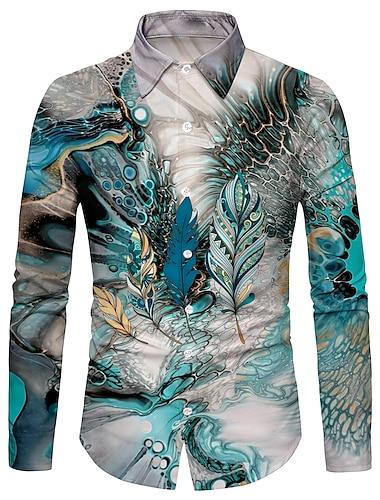 Муж. Рубашка 3D печать Перо 3D печать Кнопка вниз Длинный рукав Для улицы Верхушки На каждый день Мода Дышащий Удобный Синий / Спорт / Богемный
