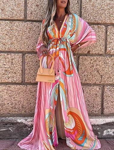 Women\'s Swing Dress Maxi long Dress Blue Blushing Pink Green Orange Light Blue 3/4 Length Sleeve Floral Abstract Sequins Lace up Print Summer V Neck Casual 2021 S M L XL XXL 3XL