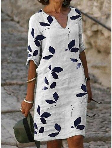 Női Váltó ruha Térdig érő ruha Fehér Féhosszú Falevél Nyomtatott Tavasz Nyár Y-nyak Alap Elegáns Bő 2021 S M L XL XXL