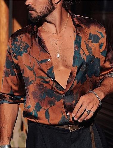 Per uomo Camicia Foglie Bottone giu Con stampe Manica lunga Interni Top Casuale Di tendenza Vintage ▾ Comodo Marrone