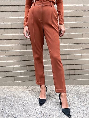 Dámské Jednoduchý Klasický styl Pohodlné Oblekové Denní Práce Kalhoty Bez vzoru Plná délka Kapsy Černá Hnědá