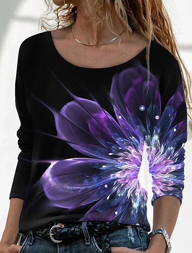 Dámské Květinový motiv Obraz Tričko Květinový Grafika Dlouhý rukáv Tisk Kulatý Základní Vinobraní Topy Běžný Černá / 3D tisk