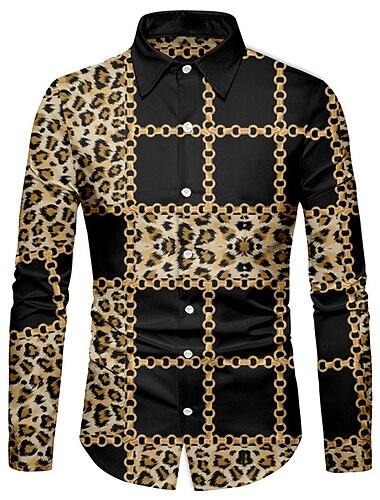 Муж. Рубашка 3D печать Леопард Цепи Печать 3D печать Кнопка вниз Длинный рукав Для улицы Верхушки На каждый день Мода Дышащий Удобный Коричневый / Спорт