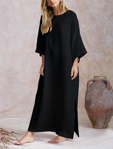 Γυναικεία Φαρδιά Μακρύ φόρεμα Χακί Λευκό Μαύρο 3/4 Μήκος Μανικιού Συμπαγές Χρώμα Σκίσιμο Άνοιξη Καλοκαίρι Στρογγυλή Λαιμόκοψη καυτό M L XL XXL 3XL 4XL / Βαμβάκι