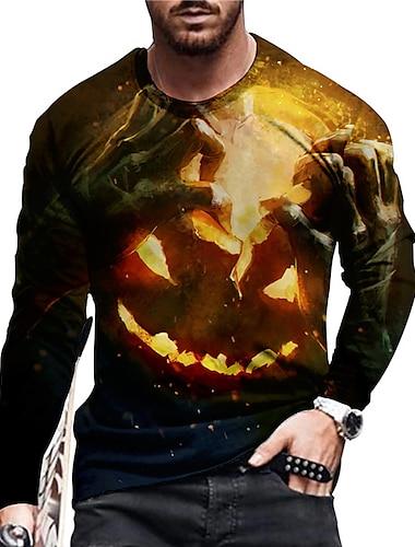 Herren Unisex Tee T-Shirt Hemd 3D-Druck Grafik-Drucke Kuerbis Druck Langarm Halloween Oberteile Freizeit Designer Gross und hoch Braun