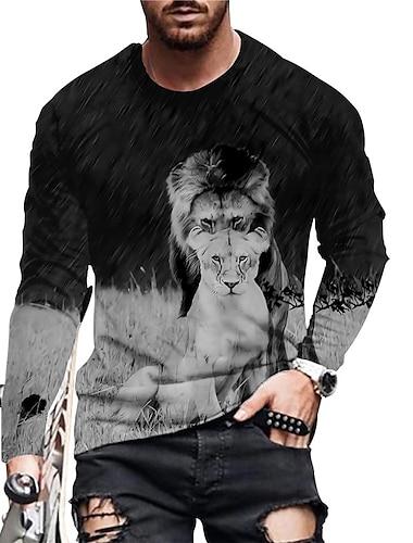Per uomo Unisex Magliette maglietta Camicia Stampa 3D Stampe astratte Leone Con stampe Manica lunga Quotidiano Top Casuale Originale Grande e alto Nero