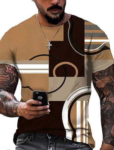 男性用 男女兼用 Tシャツ シャツ 3Dプリント グラフィック ジオメトリ プリント 半袖 日常 トップの カジュアル デザイナー 大きくて背が高い イエロー カーキ色 ルビーレッド / 夏