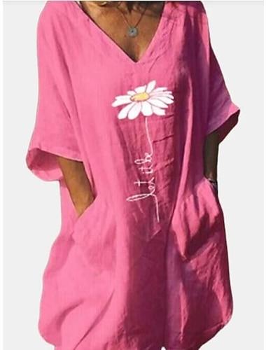 Női Pólóruha Térdig érő ruha Keki zöld Arcpír rózsaszín Fehér Fekete Féhosszú Virág Nyomtatott Tavasz Nyár V-alakú Alap Alkalmi 2021 S M L XL XXL XXXL / Pamut