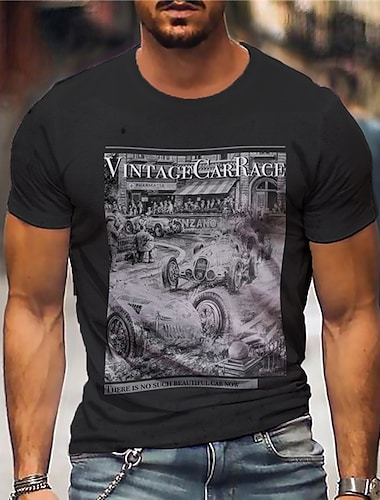 Per uomo Unisex Magliette maglietta Camicia Stampa a caldo Stampe astratte Auto Con stampe Manica corta Casuale Top Cotone Essenziale Originale Grande e alto Nero